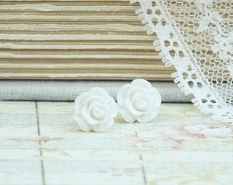 White Rose Studs Rose Earrings White Stud Earrings Flower Studs White Rose Earrings Hypoallergenic