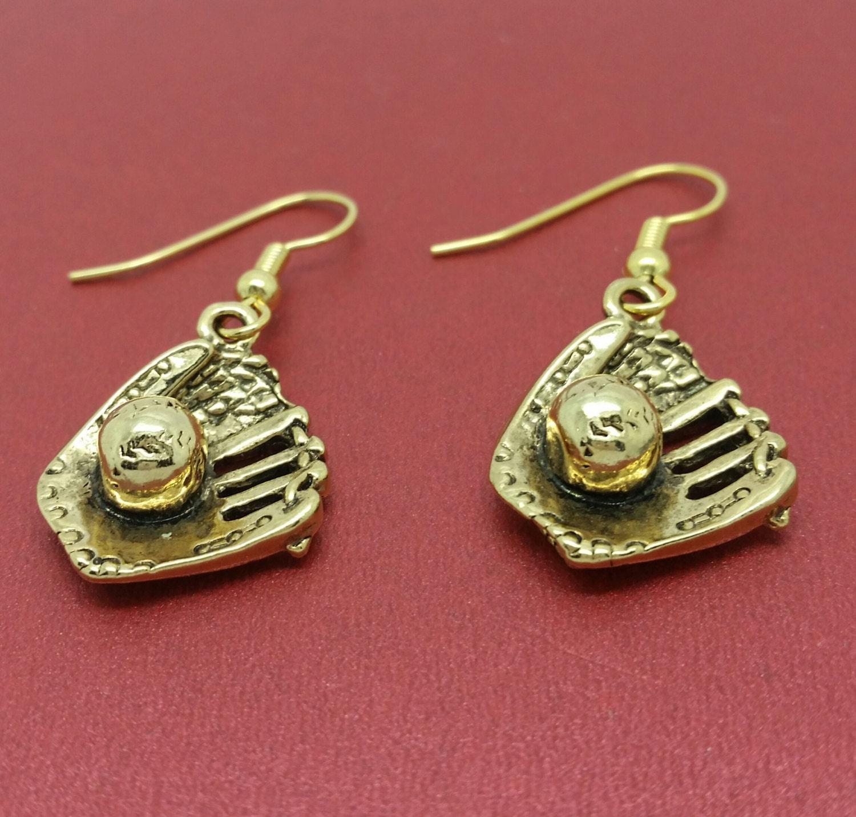softball earrings baseball earrings mitt and earrings
