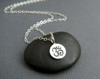 """tiny silver Om necklace. sterling silver zen yoga yogi jewelry simple Ohm symbol delicate charm. everyday. dainty jewelry. gift for her 3/8"""""""