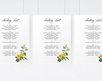Printable Seating Sign Template - Botanical - Yellow Rose Seating List PDF - Instant Download - Vintage Rose Wedding Seating List - DIY List