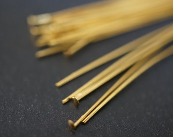 18 K Gold Plated Flat Head Pins 50mm - 0.6mm thick - 100pcs