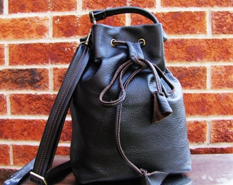 Brown Leather bucket bag, drawstring bucket purse messenger and shoulder tote, Dark brown leather handbag