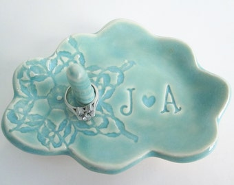 Wedding ring holder bowl, Mr.and Mrs.  Cloud monogram ring dish, In Stock, engagement gift for couples, Ceramic pottery