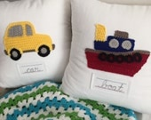 Train, Car or Boat Boys Room Decor Pillow - Pick 1