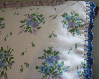 Pillowcase with Crochet Trim - Purple and Blue Posies
