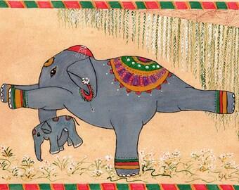 Yoga Art, Elephant Yoga Art, Indian Spirituality, Warrior Pose or Veerabhadrasana,  Hatha(i) Yoga