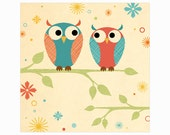 Two Owls on Branch Art Print