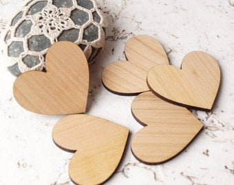 Wooden hearts, crafting supplies, laser cut out wooden hearts, wedding supplies, wood hearts, set of 50 wooden hearts, cut out heart shape