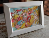 """Original Small Watercolor 4""""x 6"""" Whimsical Marching Band"""
