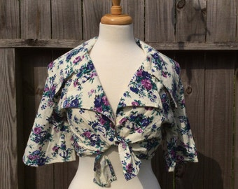 Vintage FLORAL Rose Tie Front Crop Top Women's Medium