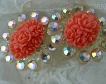 Vintage Antique Gorgeous Rhinestone Coral Wedding Earrings