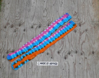 Pink, Orange and Turquoise Tie Dye Knee High Socks (American Apparel Style RSASKTH7 Cotton Solid Thigh High Socks) (One of a Kind)