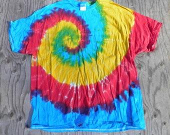 Offset Spiral Tricolor Tie Dye T-Shirt (Gildan Size XXL) (One of a Kind)