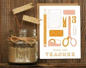 Teacher Appreciation Letterpress Greeting Card - thank you school Hand Lettering