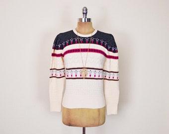 Vintage 70s 80s Ivory Cream Fair Isle Sweater Jumper Top Fairisle Sweater Pointelle Sweater Open Knit Sweater Puff Sleeve Sweater Women XS S