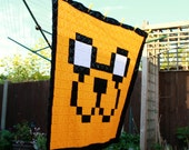 Jake The Dog Inspired Crochet 8-Bit Blanket - Pixel Art - Pixel Blanket - Solid Granny Square - Crochet Afghan - 49 x 49 - Double Bed