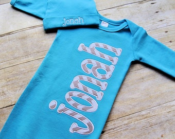 Custom personalized baby gown with or without hat. Many colors to choose from.