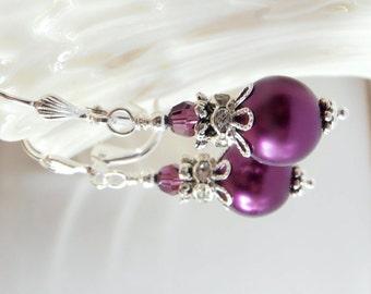 Sangria Bridesmaid Earrings, Glass Pearl Bridesmaid Jewelry Sets, Beaded Dangles, Plum Wedding Jewelry, Bridesmaid Gift, Handmade Jewellery