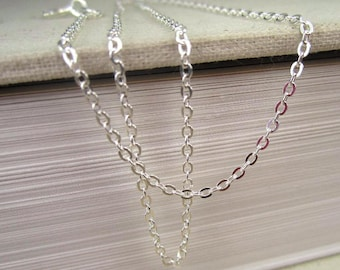 16 Inch Necklace, Sterling Silver, Finished Chain with Clasp, 16 Inch Chain, Dainty Charm Necklace