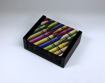 Colored Crayons Square Coaster Set of 5 with Wood Holder