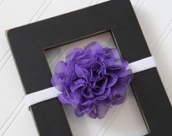 Purple Chiffon Lace Headband- Newborn Baby Child- Photo Prop - Boutique Bow Headband