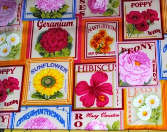 Fat Quarter Bright Cheerful Flower Seed Packet Fabric
