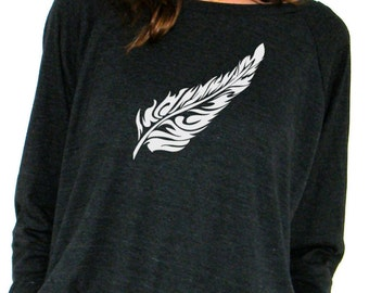 Womens Long Sleeve Sweatshirt - Feather Design - American Apparel  Raglan Pullover - Small, Medium, Large
