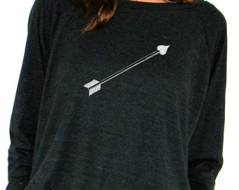 Womens Long Sleeve Sweatshirt - Cupids Arrow - American Apparel Raglan Pullover - Small, Medium, Large