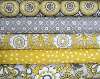 Yellow White Grey Parisian Half Yard Bundle Fabric - Riley Blake - Chelsea Anderson
