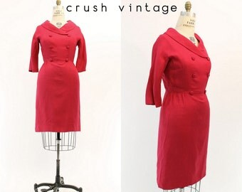 60s Dress I Magnin Medium / 1960s Linen Wiggle Dress /  Fuchsia Friday Dress