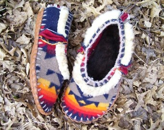 Chief Joseph Wooly  Scuffs- Napped Blanket Wool / Sheepskin & Hand Stitched Sinew 4 Layer Soles - Women's or Men's Sizes