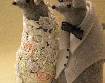 Mr and Mrs Mouse Wedding Cake topper  decoration/ guest book