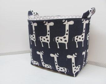 XL EXTRA LARGE - Fabric Basket Storage Container Bucket - Toy Bin - Laundry Basket - Home Decor - Nursery - Kids Room - Navy/White Giraffes