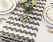 Chevron Silver wedding table Wedding Runner runners Sequin White Runner Table Dark  Table etsy and