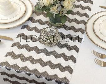 Dark Silver Chevron Sequin Table Runner Wedding Table Runner