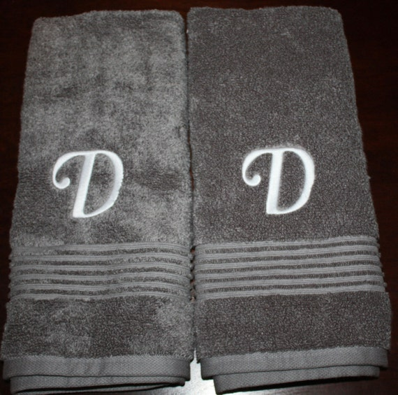 Embroidered Towels For Wedding Gift: Initial Embroidered Hand Towel Set Wedding Gift