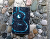 Turquoise Guitar on Dark Charcoal Grey Phone Sleeve , Wristlet or Case handcrafted from felted wool sweaters