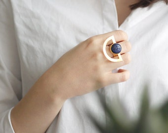 Half Circle Lapis Lazuli Ring-Gold Plated Brass