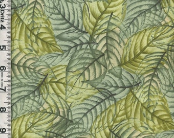Fabric Hoffman POTPOURRI Shades of  Green leaves coord. packed OOP