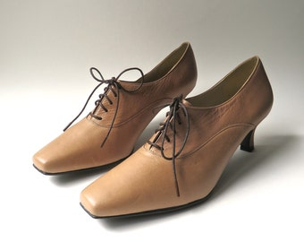 80s/90s vintage Siamanto Toffee Brown Leather Lace-Up Pumps NOS