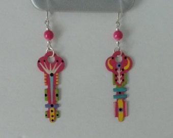 Hand Enameled Vintage metal Keys Earrings.
