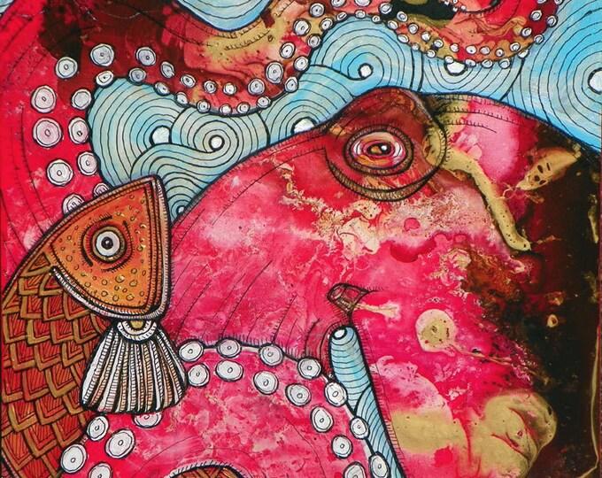 El Pulpo - Original Octopus Painting by Artist Lynnette Shelley