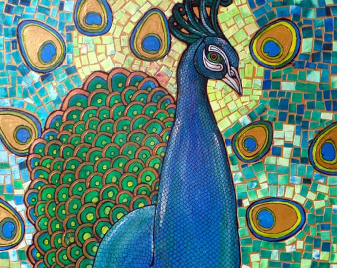Original Mosaic / Collage / Mixed Media Painting of a Peacock by Lynnette Shelley