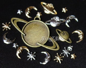 Assorted galaxy theme charms for resin craft - 20 pcs set (B)