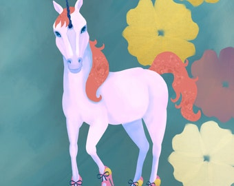 Illustration Art Print- Field Guide to Unicorns: Shoenicorn