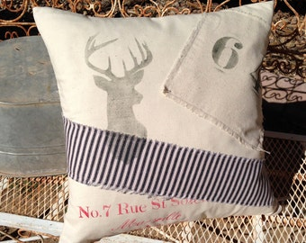 Shabby  Canvas Pillow/ Deer Head/ Buck / Grain Sack/   Farmhouse/ Lake house/ Industrial/ Cottage Chic/ Man Cave
