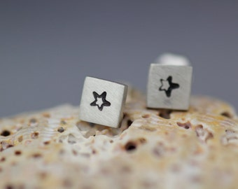 Tiny Silver Star Earrings - Handmade Metal Star Posts