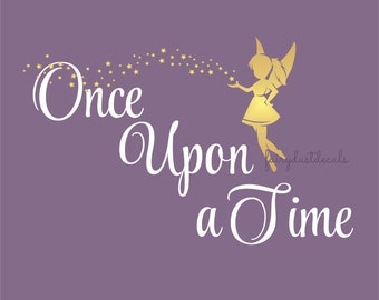 Fairy wall decal / Once Upon a Time vinyl wall lettering / fairytale wall decal / fairy with stars / little girl wall decal / pixie fairy