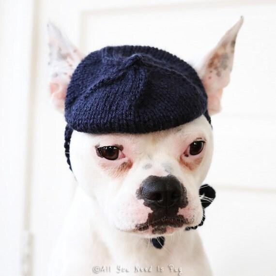 Dog Hat - Petite French Beret - Dog Beret - Pug Beret - French Bulldog Hat - French Bulldog Clothing - Pug Clothing