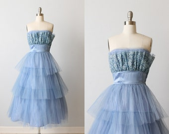 Vintage 1950s Dress / Prom Dress / Party Dress / Formal Dress / Blue / Socialite